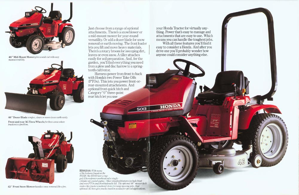 factory original honda h5518 h5013 multi purpose tractor brochure